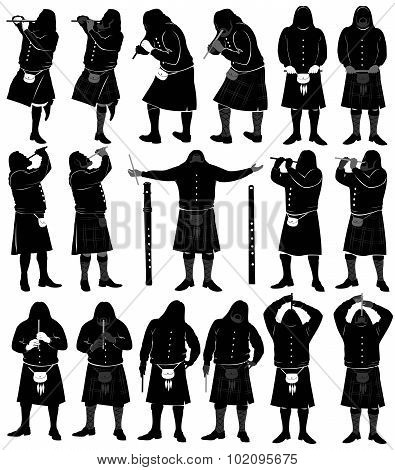 silhouette set of realistic flute musicion in scotland skirt