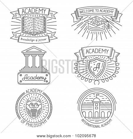 Set of badges, labels, design elements and templates in trendy linear style about academy, universit