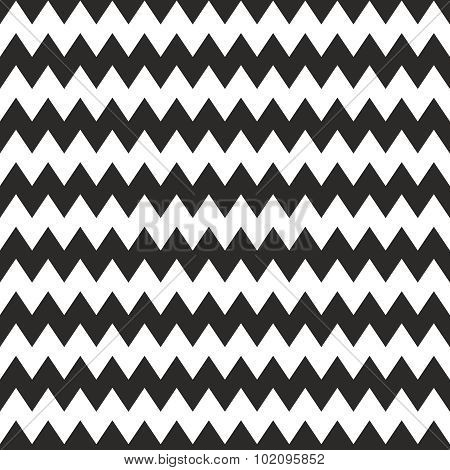 Zig zag chevron black and white tile vector pattern