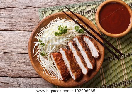 Tonkatsu Japanese Breaded Deep Fried Pork With Cabbage Horizontal Top View