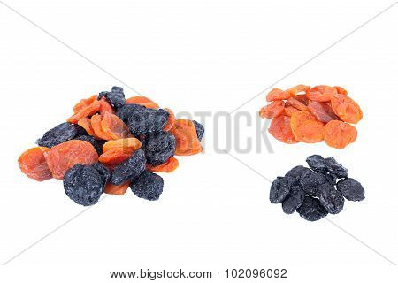 prunes, dried apricots isolated on white background.