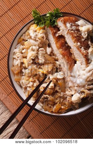 Japanese Food Katsudon Closeup. Vertical Top View