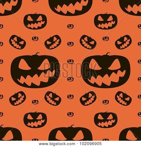 Seamless Halloween Pattern Of Wickedly Grinning Pumpkins