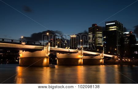 Skyline Of Financial District Of Frankfurt City In Germany