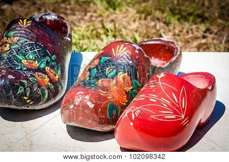 Three Painted Dutch Clogs