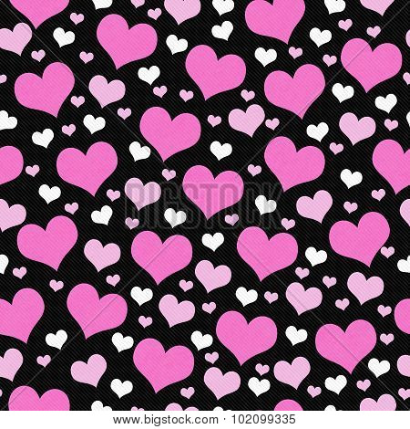 Pink, White And Black Hearts Tile Pattern Repeat Background