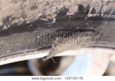 Torn Piece Of Rubber Automotive Wheel