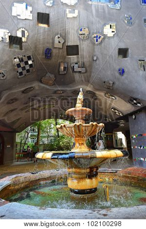 Fountain In The Courtyard Hundertwasser House In Vienna, Austria