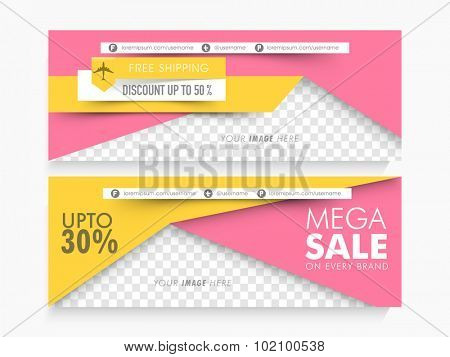 Mega Sale with discount offers, Creative website header or banner set with space for your image.