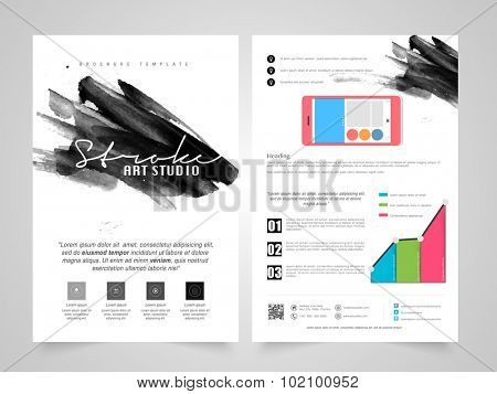 Creative Business Brochure, Template or Flyer design with smartphone and infographics for your professional reports presentation.