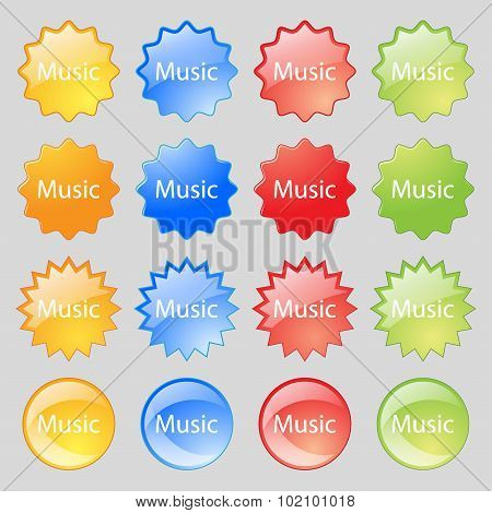 Music Sign Icon. Karaoke Symbol. Big Set Of 16 Colorful Modern Buttons For Your Design. Vector