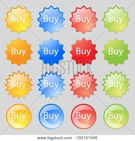 Buy Sign Icon. Online Buying Dollar Usd Button. Big Set Of 16 Colorful Modern Buttons For Your Desig