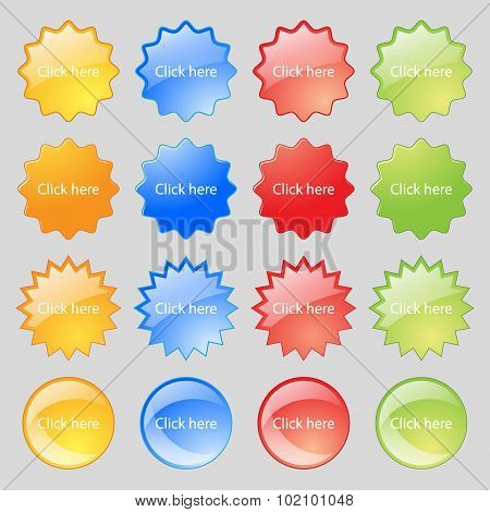Click Here Sign Icon. Press Button. Big Set Of 16 Colorful Modern Buttons For Your Design. Vector