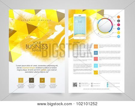 Creative abstract Business Brochure, Template or Flyer presentation with smartphone and infographics.