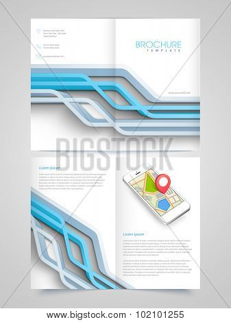 Creative professional Business Brochure, Template or Flyer presentation with abstract lines and smartphone.