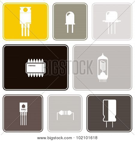 Seamless background with electronic components icons
