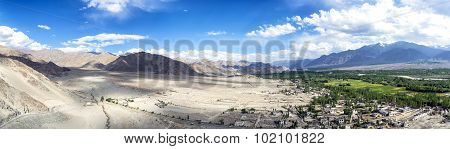 Panoramic view of Indus Valley from Thikse Gompa in Ladak, India.