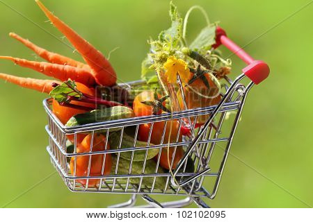 full shopping trolley with vegetables
