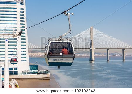 Cable Car At The Park Of The Nations In Lisbon, Portugal