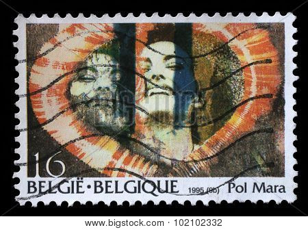 BELGIUM - CIRCA 1995: A stamp printed by Belgium shows the image of the Belgian artist Pol Mara, circa 1995.
