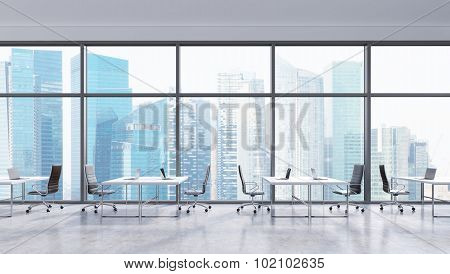Workplaces In A Modern Panoramic Office, Singapore City View In The Windows. Open Space. White Table