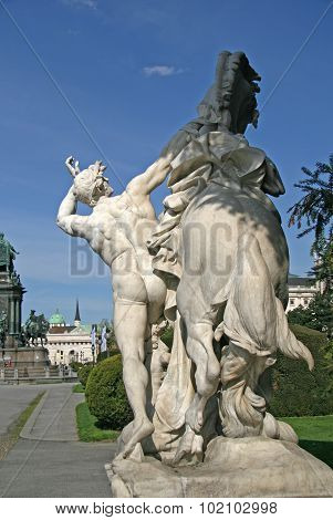 Statue Near Museum Of Natural History And The Art History Museum In Vienna, Austria. The Maria There