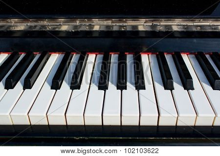 Piano keys close up.
