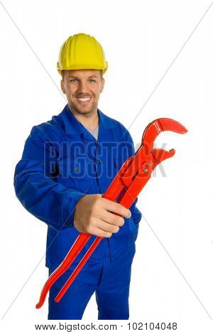 a worker in a business enterprise with tools in hand