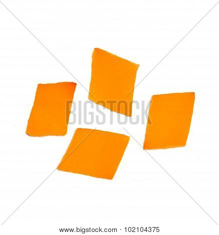 Piece Of Ripped Orange Paper Isolated On White