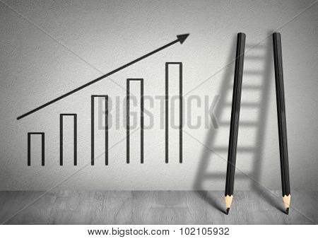 Success Creative Concept, Ladder From Pencils And Diagram