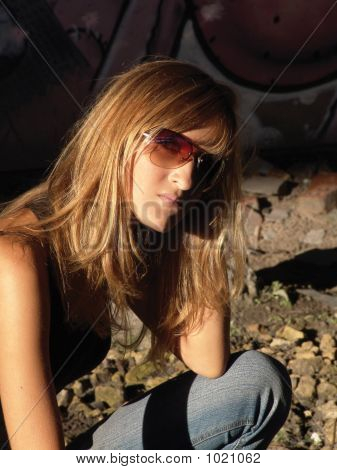 Girl Posing In Sun Glasses