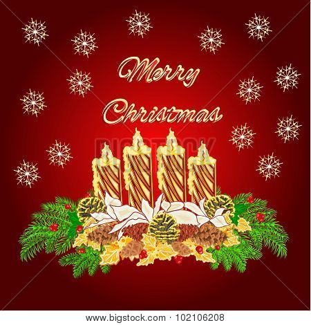 Merry Christmas Advent Wreath Gold Candle With White Poinsettia Vector