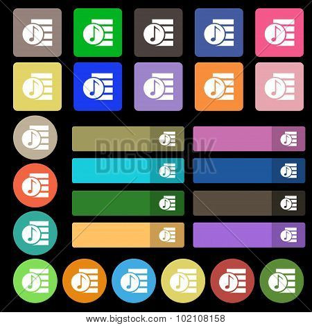 Audio, Mp3 File Icon Sign. Set From Twenty Seven Multicolored Flat Buttons. Vector