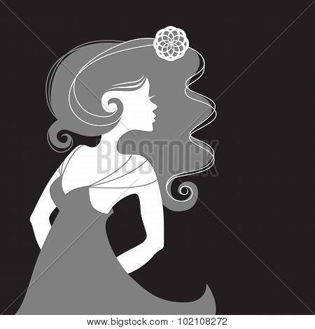Monochrome single woman girl sideview with long hair in a summer