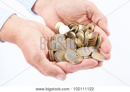 hands with money