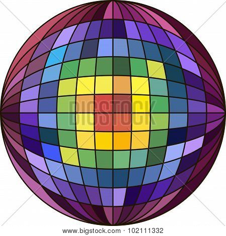 colorful ball with checkered pattern