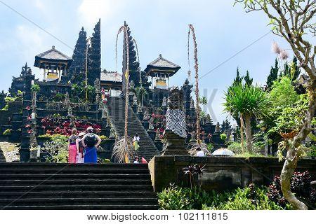 Tourists Visit Besakih Temple, Bali, Indonesia