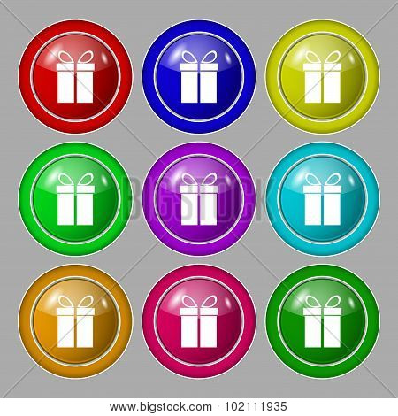 Gift Box Sign Icon. Present Symbol. Symbol On Nine Round Colourful Buttons. Vector