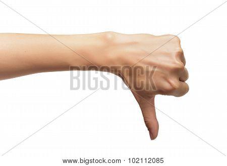 Hand thumb down.