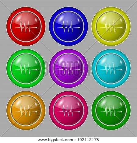 Cardiogram Monitoring Sign Icon. Heart Beats Symbol. Symbol On Nine Round Colourful Buttons. Vector