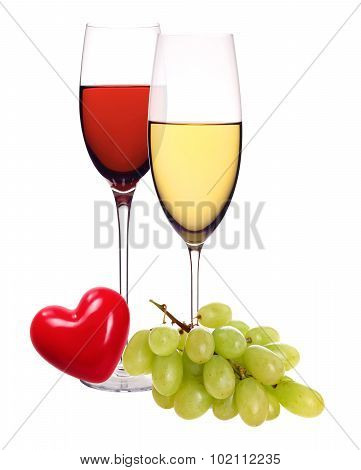 Wineglasses With White And Red Wine, Heart And Grape Isolated On White