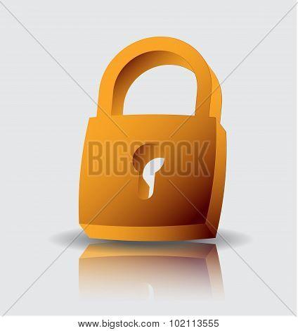 Vector illustration of real padlock