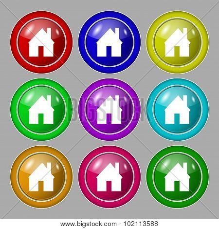 Home Sign Icon. Main Page Button. Navigation Symbol. Symbol On Nine Round Colourful Buttons. Vector