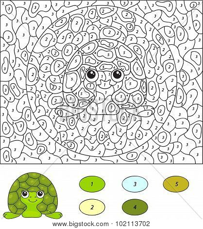 Color By Number Educational Game For Kids. Cartoon Turtle. Illustration