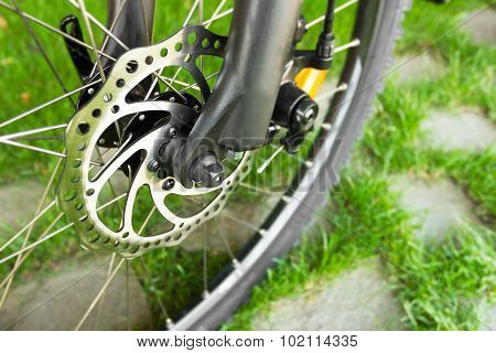 Metal Disc Brake Detail On Mountain Bicycle
