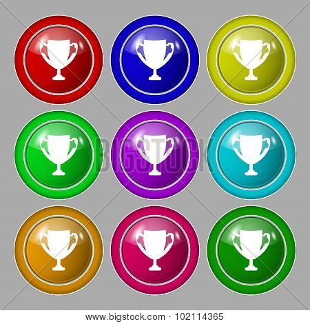 Winner Cup Sign Icon. Awarding Of Winners Symbol. Trophy. Symbol On Nine Round Colourful Buttons. Ve