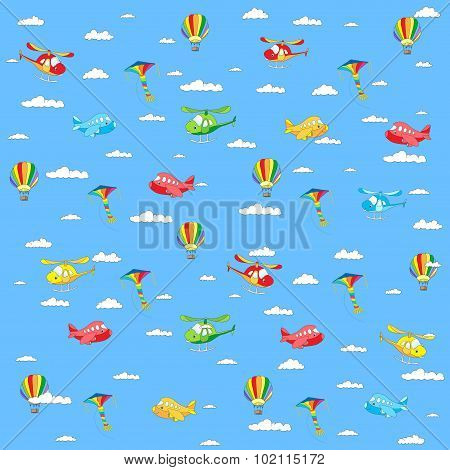 Seamless Texture With Cartoon Transport. Helicopter, Aircraft, Balloon And Kite In Cloudy Sky.