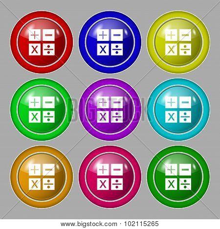 Multiplication, Division, Plus, Minus Icon Math Symbol Mathematics. Symbol On Nine Round Colourful B