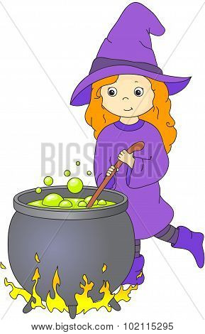 Lovely Friendly Witch With Red Hair Brews A Potion In A Cauldron. Illustration For Halloween