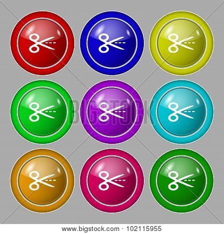 Scissors With Cut Dash Dotted Line Sign Icon. Tailor Symbol. Symbol On Nine Round Colourful Buttons.